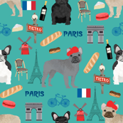 french bulldog in paris fabric - frenchie fabric, paris fabric, france fabric, dog fabric, dogs fabric, cute pet - teal