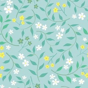 Spring flowers, blue and yellow