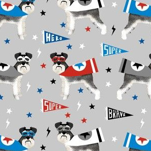 schnauzer superhero fabric - dog superhero fabric, dog, fabric, dogs fabric, cape fabric, mask, superheroes - grey
