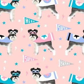 schnauzer superhero fabric - dog superhero fabric, dog, fabric, dogs fabric, cape fabric, mask, superheroes - pink