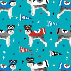 schnauzer superhero fabric - dog superhero fabric, dog, fabric, dogs fabric, cape fabric, mask, superheroes - blue