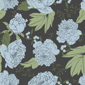 Moody Floral Blue Large Scale