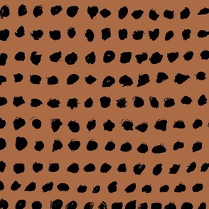 Minimal raw brush dots in a row abstract squares scandinadian fall copper brown