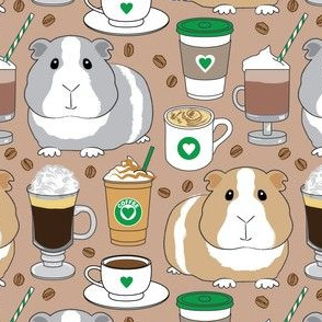 guinea-pigs-and-coffee beans on brown