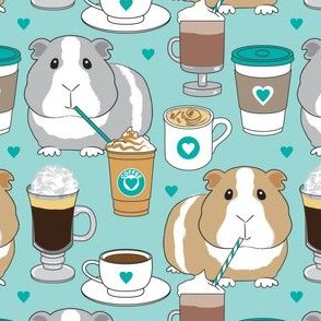guinea-pigs-and-coffee beans on teal
