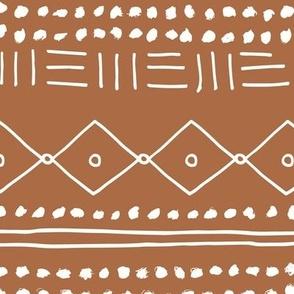 Minimal mudcloth bohemian mayan abstract indian summer love aztec design copper brown JUMBO