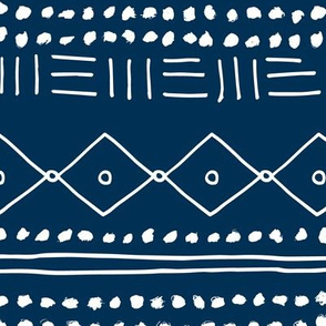 Minimal mudcloth bohemian mayan abstract indian summer love aztec design navy blue JUMBO