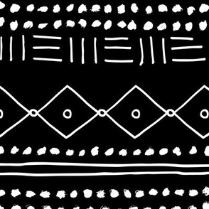 Minimal mudcloth bohemian mayan abstract indian summer love aztec design monochrome black and white JUMBO