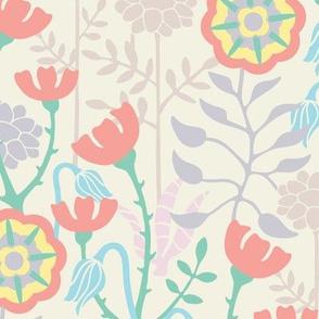 Folk Garden Floral Wildflowers Meadow White Pastel