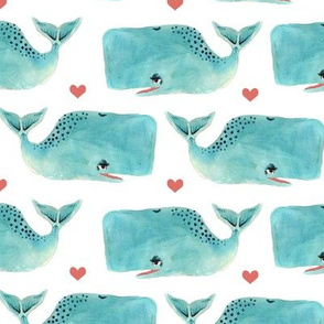 Watercolour Blue Whales and Hearts - Smaller Scale