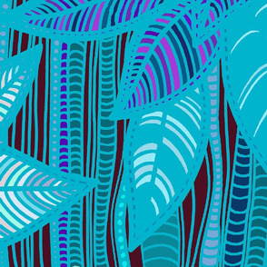 Foliage - Turquoise Bamboo - Large Scale 61x69 inches