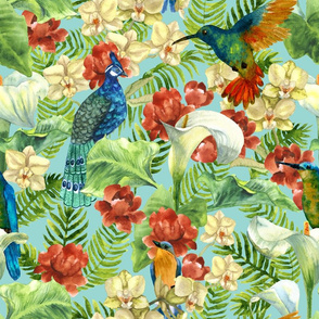 tropical flowers and birds
