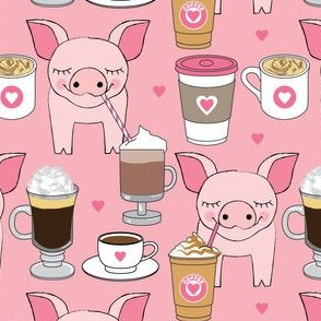 pigs sipping coffee on pink