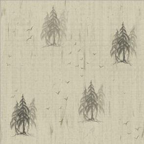 Pencil Pine Tree on Distressed Muslin