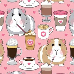 guinea pigs siping coffee on pink
