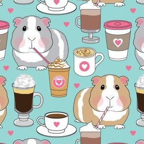 guinea-pigs-sipping coffee pink and teal