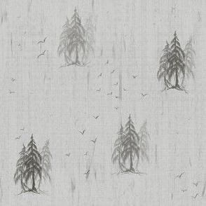 Small Pattern- Pencil Pine Tree on Distressed Grey Muslin