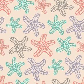 Sea Coastal Ocean Starfish Turquoise Coral Purple Gray