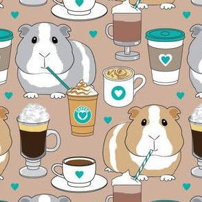 guinea-pigs-sipping coffee brown and teal