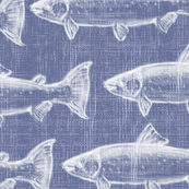 Chaulk Steelhead Trout School on Distressed Denim- Large Pattern