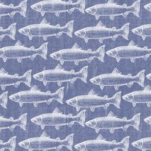 Chaulk Steelhead Trout School on Distressed Denim- Small Pattern