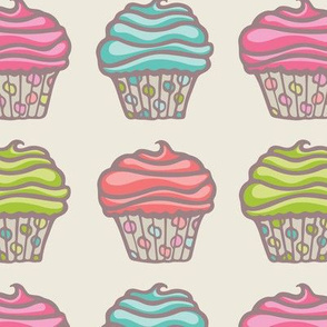 Festive Party Cupcake Pink Blue Red Green