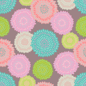 Festive Floral Pink Red Blue Green
