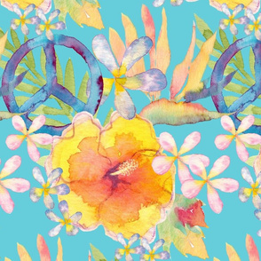 Summer Watercolor Floral Peace