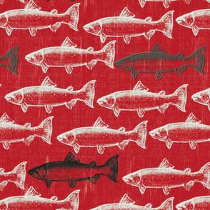 Chalk Steelhead Trout School on Distressed  Red Rustic Weave- Large Pattern