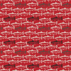 Chalk Steelhead Trout School on Distressed  Red Denim- Small Pattern