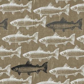Chalk Steelhead Trout School on Distressed  Pebble Denim- Large Pattern