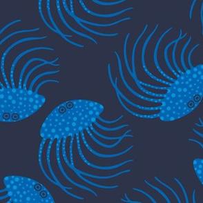 Jellyfish Blue Dark Sea Ocean