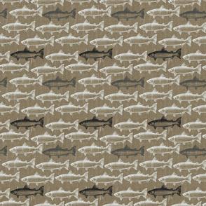 Chalk Steelhead Trout School on Distressed  Pebble Denim- Small Pattern