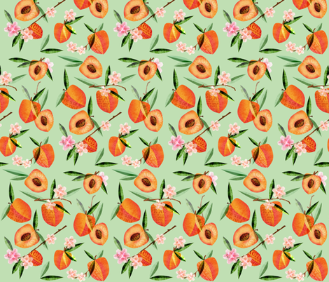 Just Peachy - green fabric by mulberry_tree on Spoonflower - custom fabric