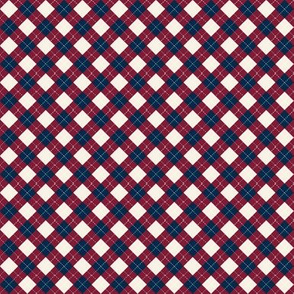 MINI - argyle - burgundy navy cream