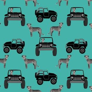 SMALL - irish wolfhound dog adventure fabric  - off-road fabric, dog fabric, dogs fabric, wolfhound fabric - teal