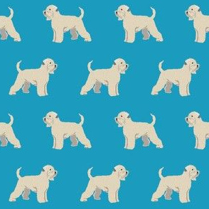 irish wheaten terrier dog fabric - soft-coated wheaten terrier dog, dog fabric, dogs fabric dog breeds fabric -  blue