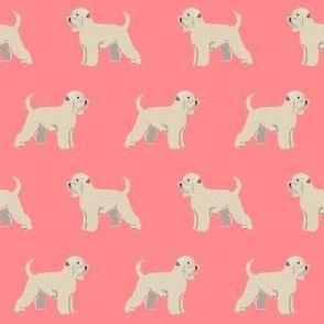 irish wheaten terrier dog fabric - soft-coated wheaten terrier dog, dog fabric, dogs fabric dog breeds fabric - salmon