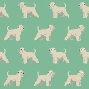 irish wheaten terrier dog fabric - soft-coated wheaten terrier dog, dog fabric, dogs fabric dog breeds fabric -  green