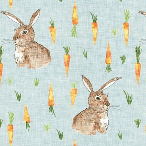 Cottontail bunny carrots (duck egg blue) MED