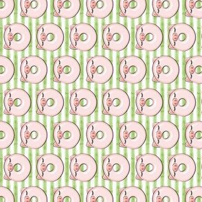 (micro scale) piggy donut - cute pig (green stripes) (90) C19BS