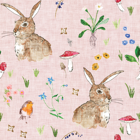 Cottontail Bunny Floral (blush) MED fabric by nouveau_bohemian on Spoonflower - custom fabric