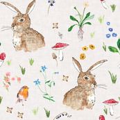 Cottontail bunny Floral (cream) MED