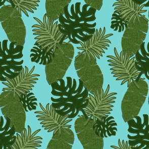 Bohemian Leaves on Aqua