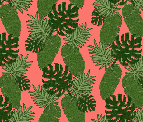 Bohemian Leaves on Coral fabric by bmfabricdesigns on Spoonflower - custom fabric