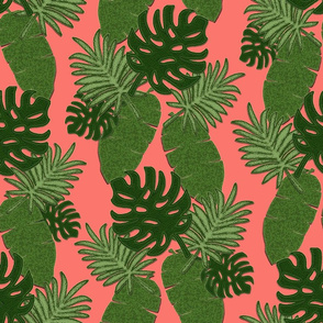 Bohemian Leaves on Coral