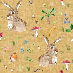 Cottontail Bunny Floral (gold) MED