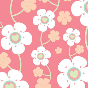 Simple Soft Pink Cherry Blossom Floral Pattern