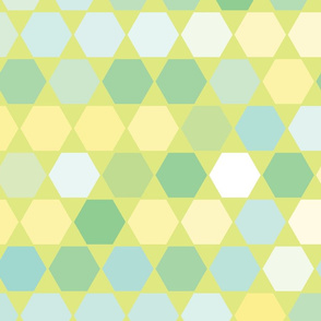 Minty Hexagons seamless pattern