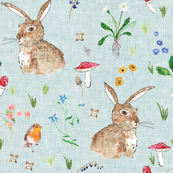 Cottontail Bunny Floral (duck egg blue) MED